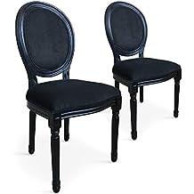a4c31252c62803 INTENSEDECO Lot de 2 chaises médaillon Louis XVI Velours Noir