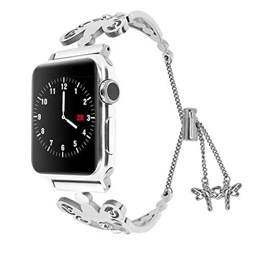 XNBZW Kompatibel für Apple Watch Band 42mm 44mm iWatch Serie 4, Serie 3, Serie 2, Serie 1, Diamant Strass Edelstahl Metall Armband(Silber) (Tommy Hilfiger Watch Orange)