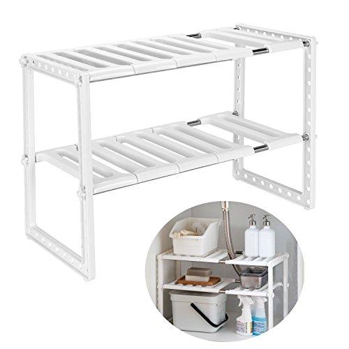 Qisiewell Etagere de Rangement sous Evier Rack Extensible Organisateur pour Cuisine Salle de Bain Chambre Salon Longueur Reglable 38-70cm,Capacite de Charge de 14 kg (Blanc)