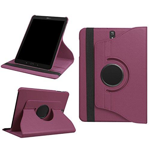 Schutzhülle für Samsung Tab S3 9.7 Zoll Cover T820 / T825 Hardcase aufstellbar und um 360 Grad drehbares Case Tasche Hülle (Lila) + GRATIS Stylus Touch Pen