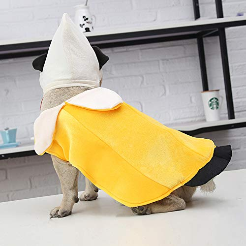 BeesClover Hunde-Kostüm, Bananen-Kostüm, niedliches Hunde-Kleid, lustiges Halloween-Kostüm, Gelb, Größe M