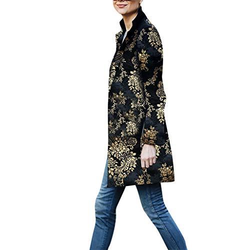 Alwayswin Frauen Vintage Blumendruck Wintermantel Mode Knopf Mantel Mit Tasche Langarm Lässiger Langer Blazer Anzug Outwear Herbst und Winter Langer Mantel Strickjacken Jacken