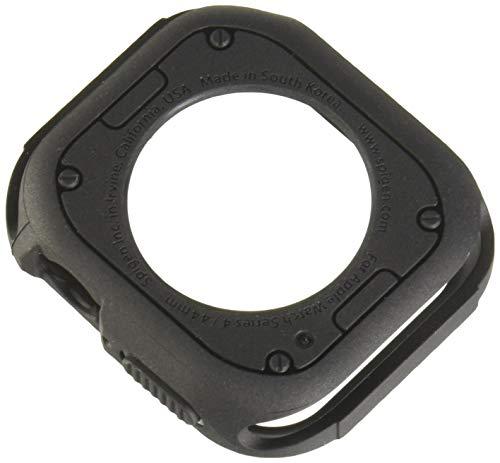 Apple Watch Series 4 44mm Hülle, Spigen [Rugged Armor] Robuste TPU [Schwarz] Silikon Stylisch Karbon Design Schutzhülle Case für Apple iWatch 4 44mm