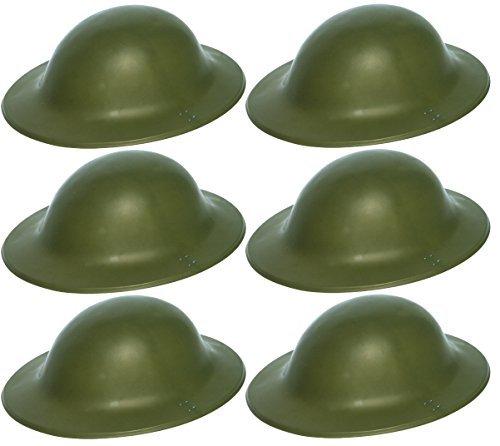 6 x grün Britische Armee Soldat Helm 2. WELTKRIEG Zweiter Weltkrieg Tommy Verkleidung Kostüm (Spielzeug Uk Kostüm Soldat)