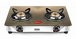 Pigeon Metallic Gold 2 Burner Glass Top Gas Stove