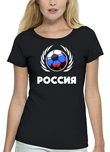 ShirtStreet Russia Fussball WM Premium Fanfest Damen T-Shirt Bio Baumwolle Stanley Stella Fußball Russland Black
