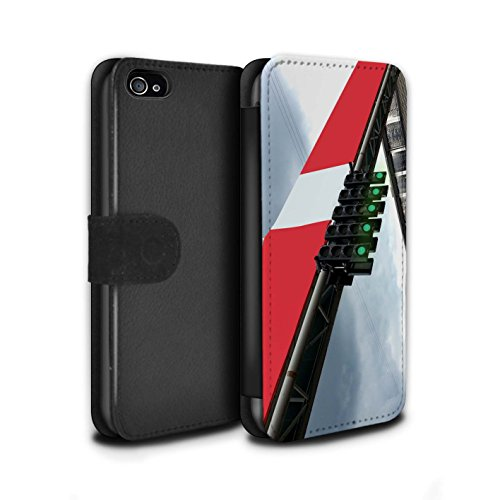Stuff4 Coque/Etui/Housse Cuir PU Case/Cover pour Apple iPhone 4/4S / Voiture Course Design / Piste Course Photo Collection Feux Grille Voie