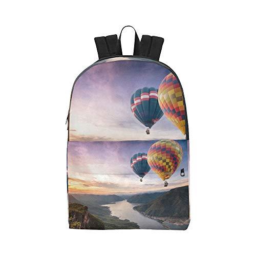 Bunter Himmel Heißluftballon klassischer Netter wasserdichter Daypack sackt Schulehaus Kausale Rucksäcke Rucksäcke Bookbag für Kinderfrauen EIN und Männer Reisen mit Reißverschluss und innerer Tasche