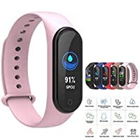 Generp Fitness Tracker M4, Activity Smart Watch with Heart Rate & Blood PressureMonitor, Waterproof Health Exercise Bracelet with Step Counter, Call & SMS Pedometer Watch for Kids Women and Men