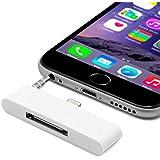 Adaptador con Transmion de Audio y Datos de 30 a 8 Pines para iPhone 6 6S Blanco