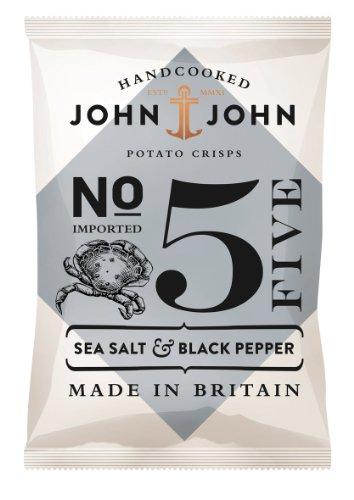 Preisvergleich Produktbild John & John Potato Crisps Sea Salt & Black Pepper 40g,  6er Pack (6 x 40 g)