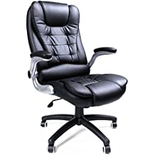 Songmics Silla giratoria de oficina Silla de escritorio Racing negro Recubrimiento de PU Reposabrazos ajustable OBG51B