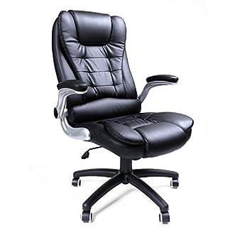 Songmics Silla de oficina con 76cm grande de espalda alta asiento y reposabrazos ajustable ordenador escritorio silla de oficina giratoria