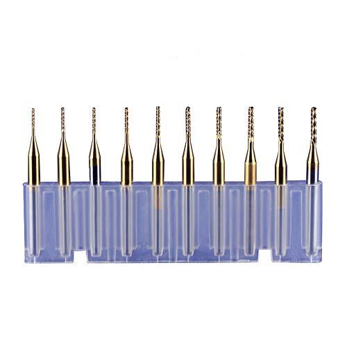 WeiterVor 10 Pezzi di Titanio rivestito 0.6-1.5 mm PCB CNC Carburo Fresa punte dell'incisione per Rotary Burrs punte Fresa legno trapano avvitato