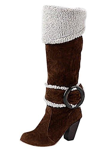 Minetom Donna Autunno Inverno Ginocchio Stivali Tacco Alto Fibbia Boots Tacco Chunky Biker Stivali Marrone