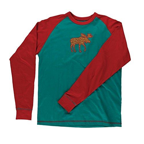 LazyOne Unisex Pattern Moose Longsleeve Pyjama T Shirt Erwachsenen XS - Long Sleeve Pattern Shirt