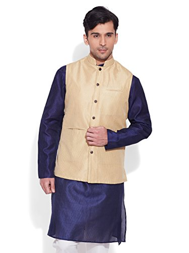 Very Me Men's Designer Cream Faux Silk Textured Nehru Jacket Size:- 36 / S  available at amazon for Rs.999