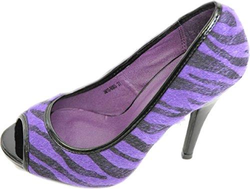 Zebra Peep-toe (Rockabilly ZEBRA PEEP TOES High Heels Pin Up 50s Emo)