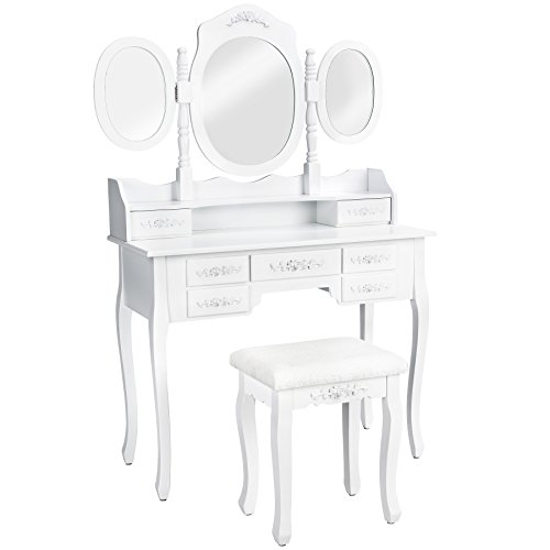 TecTake Coiffeuse meuble table de maquillage avec 3 miroirs + tabouret + 7 tiroirs en blanc