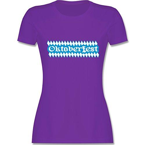 Oktoberfest Damen - Oktoberfest Rauten - tailliertes Premium T-Shirt mit Rundhalsausschnitt für Damen Lila