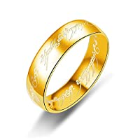 6mm Titanium Ring Gold Plated Lord of Rings Comfort Fit Wedding Band For Men Women