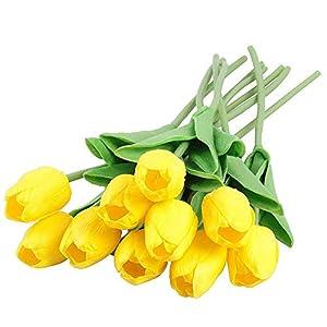 10 Pcs Tulipanes Artificial Flores Artificiales Decoración Plásticas Tulipanes Sensación Real al Tacto Material de PU Adorno para Boda Ceremonias Navidad Hogar (Rojo Oscuro)