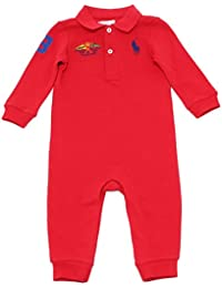 3766V tutina bimbo RALPH LAUREN red cotton rompers coverall boy kid