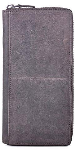 Leder Damen Geldbörse braun mit Reißverschluss von URBAN FOREST, Cntmp Damen Portemonnaie dunkelbraun Damen Börse, Brieftasche lang Echt Leder, Natur-Leder, 19x10x2cm (BxHxT), Farbe:Dunkelbraun. Braun