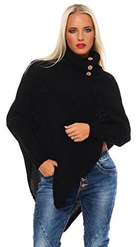 Mississhop Poncho Strick Sweatshirt Pullover Umhang Überwurf Einheitsgröße 36 38 40 S M L 11...