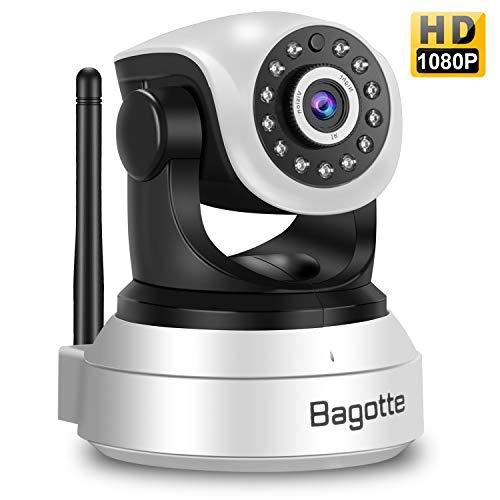 Bagotte telecamera wi-fi interno, telecamera di sorveglianza wireless hd 1080p con sensore di movimento, visione notturna, audio bidirezionale, videocamera ip per casa/baby monitor
