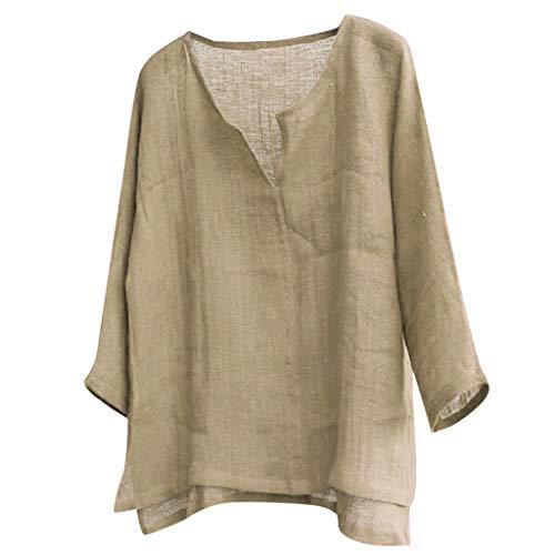 , Oversize Tops Mens Kurze atmungsaktive Bequeme einfarbige Baumwolle und Leinen Langarm lose lässige T-Shirt Bluse Shortsleeve Basic Shirt ()