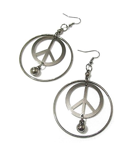 Hämatit silberfarben Damen Kostüm Hippie Peace Fashion Ohrringe (Schmuck Bridal Kostüm Indian)