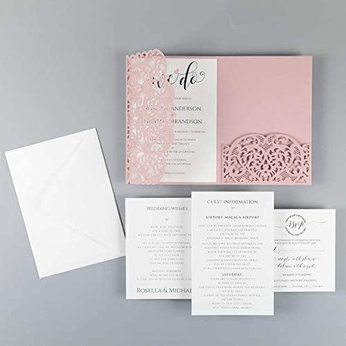 Apribile taglio laser inviti matrimonio fai da te partecipazioni matrimonio rosa carta con busta campione con un esempio di stampa !!