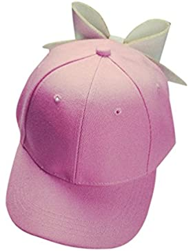 AIMEE7 Moda Solid Bow Cap Chica Snapback Hip Hop Cap Sombrero Plano De Visera Gorra De BéIsbol