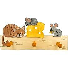 Perchero Ratones de Olli olbot 35401de madera habitación de los Niños–Perchero de pared
