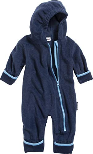 Playshoes Unisex Baby Fleece-Overall Farblich Abgesetzt, Blau (Marine 11), 86