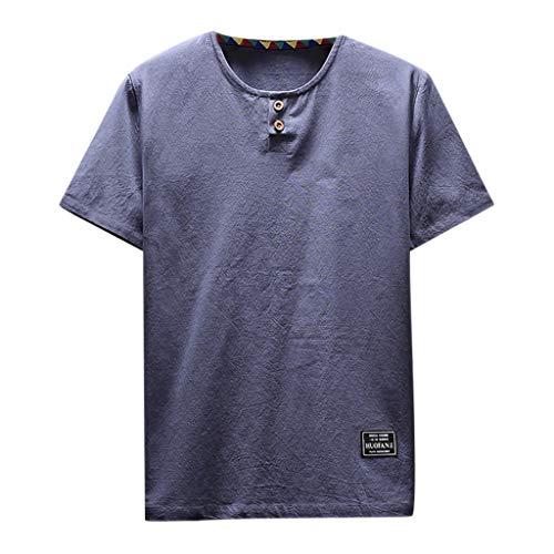 LSAltd Männer Sommer Neueste Lässige Reine Farbe Taste Kurzarm Comfy Leinen T-Shirt Tops Bluse