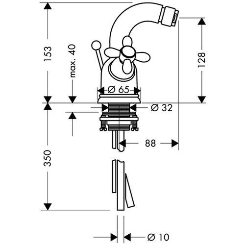 Hansgrohe Sitzwaschbecken-Einlochbatterie Carlton mit Kreuzgriff und Ablaufgarnitur, chrom / gold, 17230090