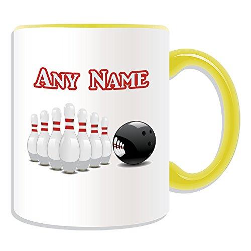 Personalisiertes Geschenk–Bowling Tasse (Sport Design Thema, Farbe Optionen)–alle Nachricht/Name auf Ihre einzigartige Tasse–Zehn Pin Ball, keramik, Gelb (Personalisierte Bowling Ball)
