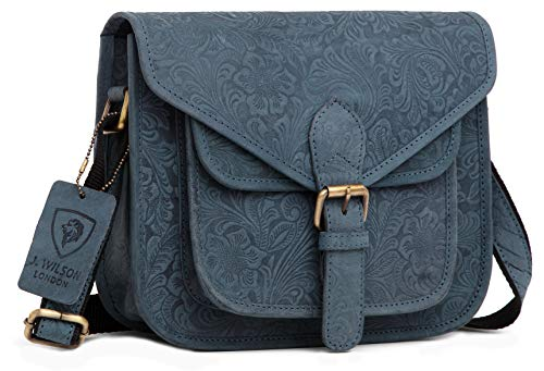 J  Wilson London Messenger Bag Women Leather Flapover 5 litres (Distressed  Printed Blue)