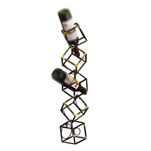 LYN-UP Weinregal, Hält 5 Weinflaschen an der Wand befestigter Würfel-hängender Halter-Metalleisen-Speicher-Regale Bronze