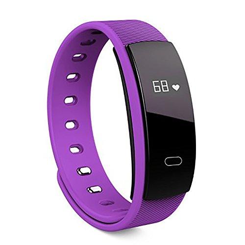 HUIMEIDE Fitness Armbanduhr, Schmal Wasserdicht Fitness Tracker mit Herzfrequenz Schrittzähler Schlafmonitor und Kalorienzähler, Aktivitätstracker Armband Uhr für Damen Herren und Kinder Wasserdicht Sport Armband für ios und Android (Lila)