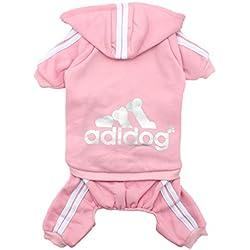 Scheppend Adidog Ropa Para Perros Con Capucha Perro Algodón Camiseta Gato Cachorro Sweater Capa Ropa Primavera Rosa M