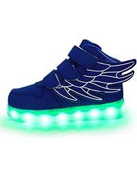 Firstmall-LED Chaussures High Top 7 Couleur Unisexe garçons et filles enfants USB Charge LED Ailes légères Chaussures de Sports Baskets