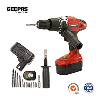 Geepas Hammer Impact Cordless Drill Driver - Heavy Duty & Reliable Percussion Drill with LED Battery Indicator & Auxiliary Handle Universal Tool (NICD Drill)
