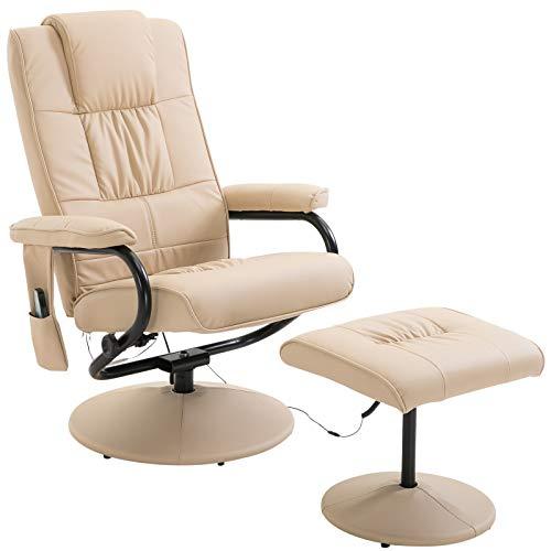 Homcom Fauteuil de Massage Vibration Electrique Relaxation avec Chauffage crème