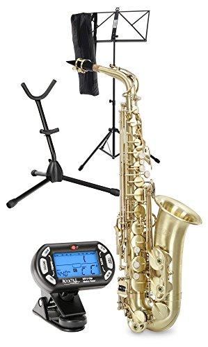 Classic Cantabile Winds AS-450 Es brushed Altsaxophon Set (Alt-Saxophon, gebürstetes Messing, Es-Stimmung, Hoch-Fis-Klappe, Set mit Koffer, Saxofonständer, Stimmgerät & Notenständer)