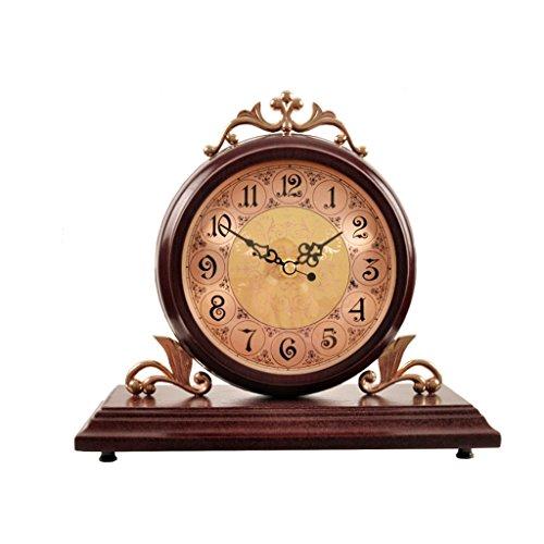 WEIJUN SHOP Massivholz Retro Uhr, Non-ticking, Wohnzimmer Stumm Desktop Pendulum Stücke Tischuhr 9,8 × 10,6 Zoll (Farbe : A)