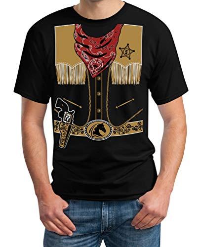Mega Stylishes Cowboy Kostüm Karneval Sheriff Herren T-Shirt X-Large Schwarz