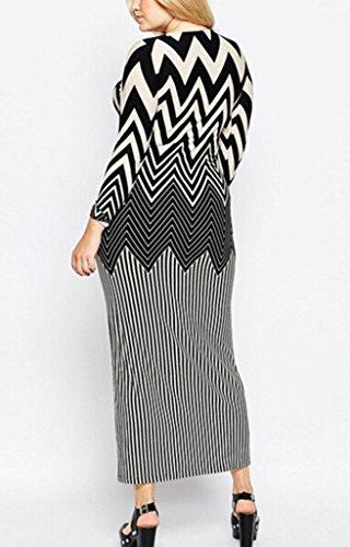 Bigood Robe Longue Femme Manches Longues Soirée Mariage Rayure Mode Multicolore